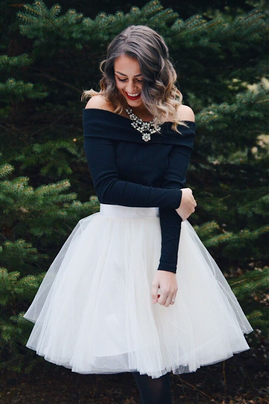 Christmas Party Outfit With Tulle Skirt Christmas Dress Women Christmas Outfits Dressy Boho Chic Wedding Dress [ 1334 x 887 Pixel ]