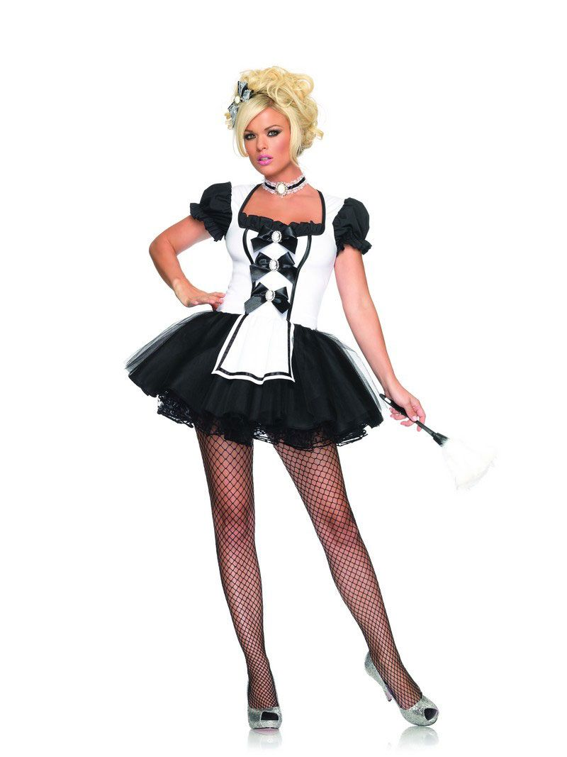 White apron fancy dress - Leg Avenue Women S Mistress Maid Costume Black White Medium Large Mistress Maid Features Tutu Apron Dress With Cameo Satin Bow Accents