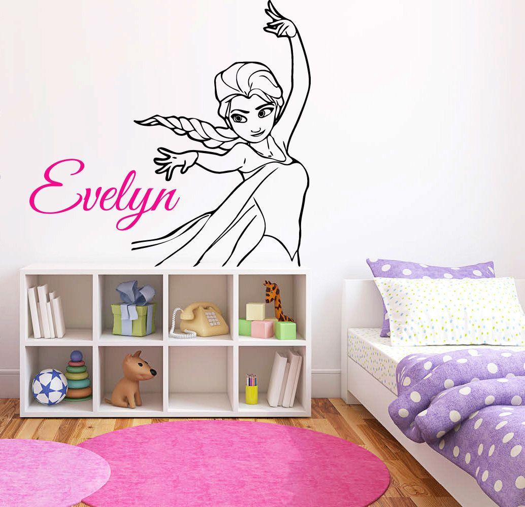 Personalized Name Princess Elsa Wall Decal Frozen Wall Decor Etsy Wall Decor Stickers Wall Vinyl Decor Cartoon Wall