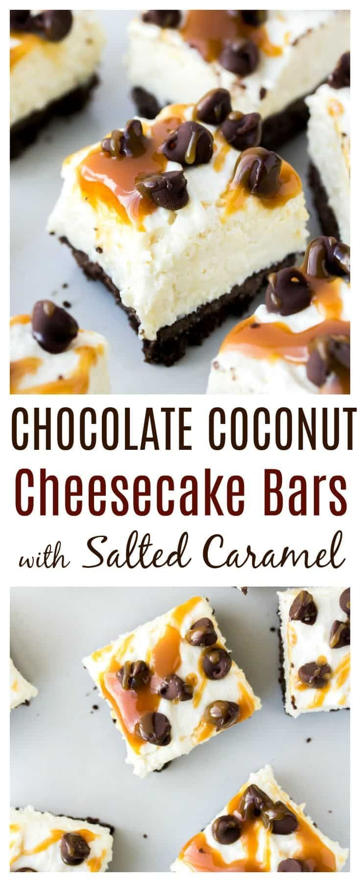Coconut Cheesecake Bars consist of a chocolate graham cracker crust, topped with a creamy no bake coconut cheesecake. They are then topped with chocolate chips and salted caramel sauce for an easy-to-make decadent dessert! #homemadegrahamcrackercrust Coconut Cheesecake Bars consist of a chocolate graham cracker crust, topped with a creamy no bake coconut cheesecake. They are then topped with chocolate chips and salted caramel sauce for an easy-to-make decadent dessert! #homemadegrahamcrackercrus #homemadegrahamcrackercrust