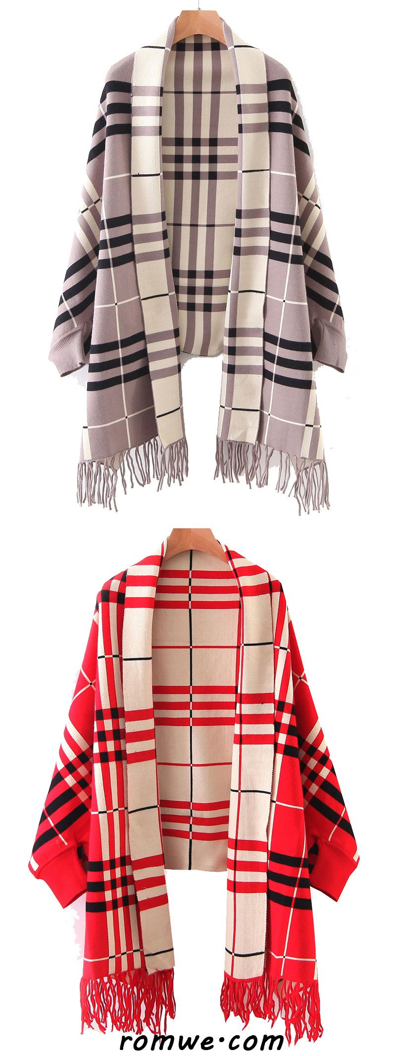Plaid Shawl Collar Fringe Detail Poncho Sweater