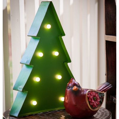 Brayden Studio Battery Operated Light Up Christmas Tree Outdoor Wall Décor