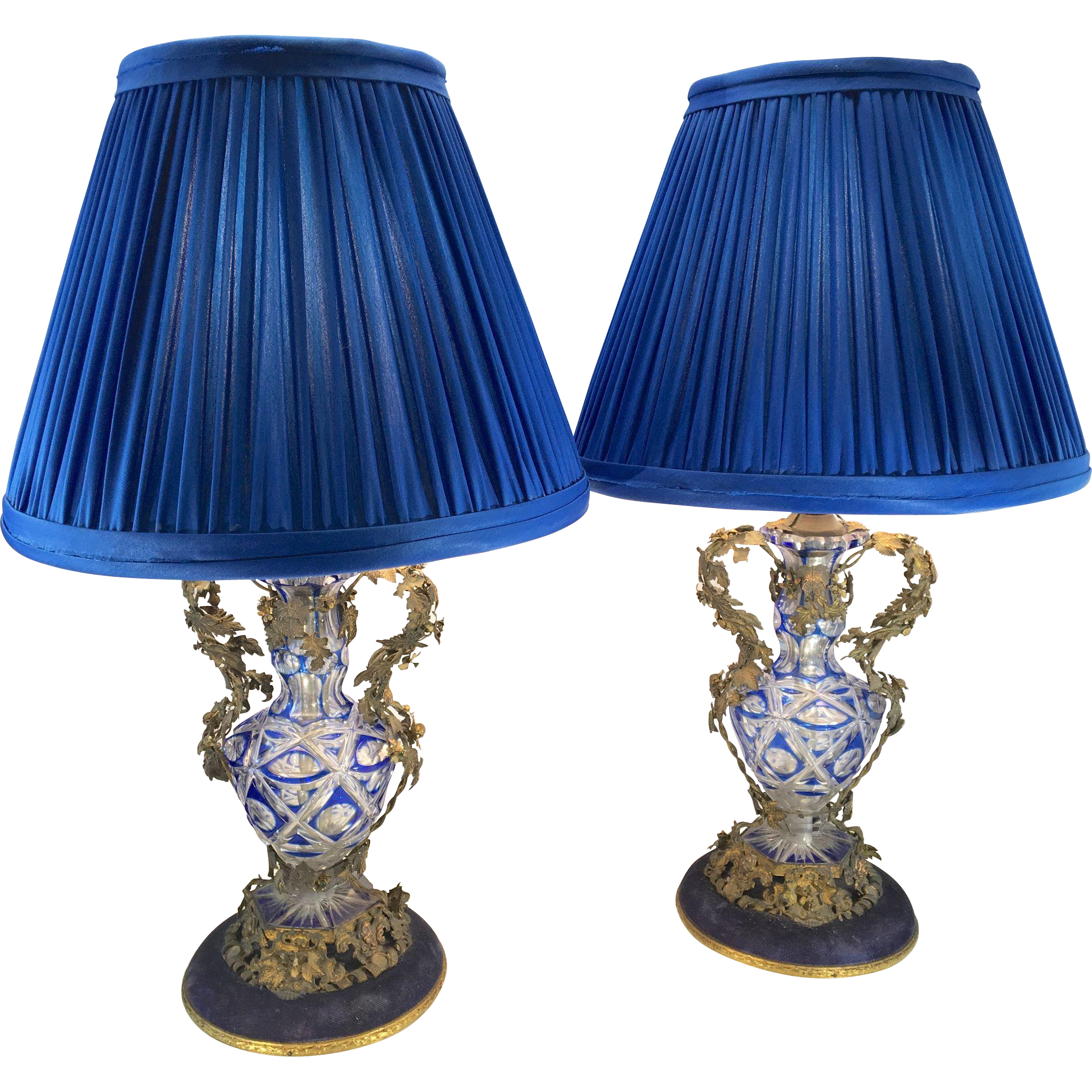 French Country Blue Lamps: Antique Pair Czech Bohemian Cut Glass Boudoir Lamps French