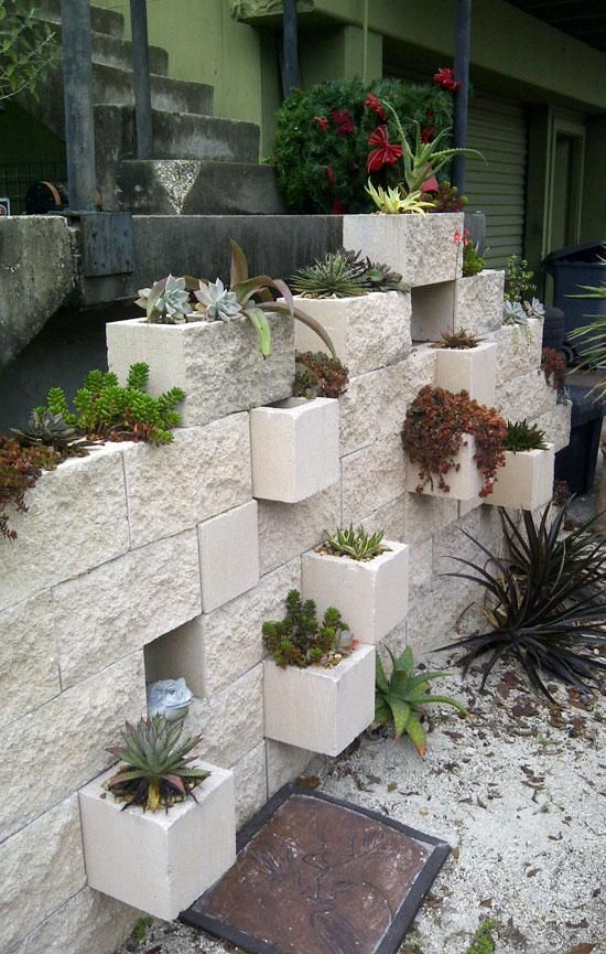 cinder block wall planter outdoor and landscaping. Black Bedroom Furniture Sets. Home Design Ideas