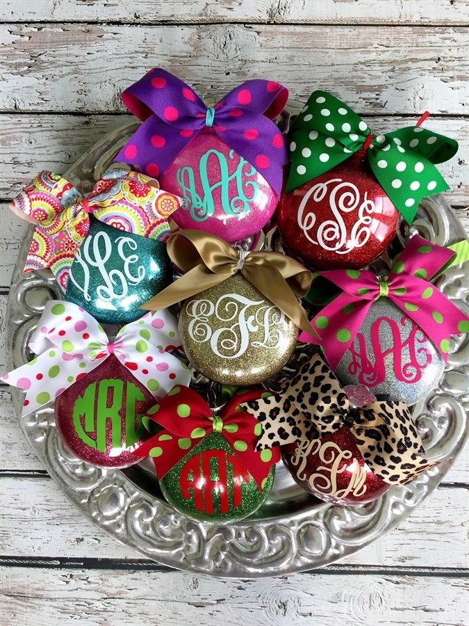 Personalized Monogrammed Glitter Ornaments Vinyl Christmas Ornaments Silhouette Christmas Christmas Ornaments