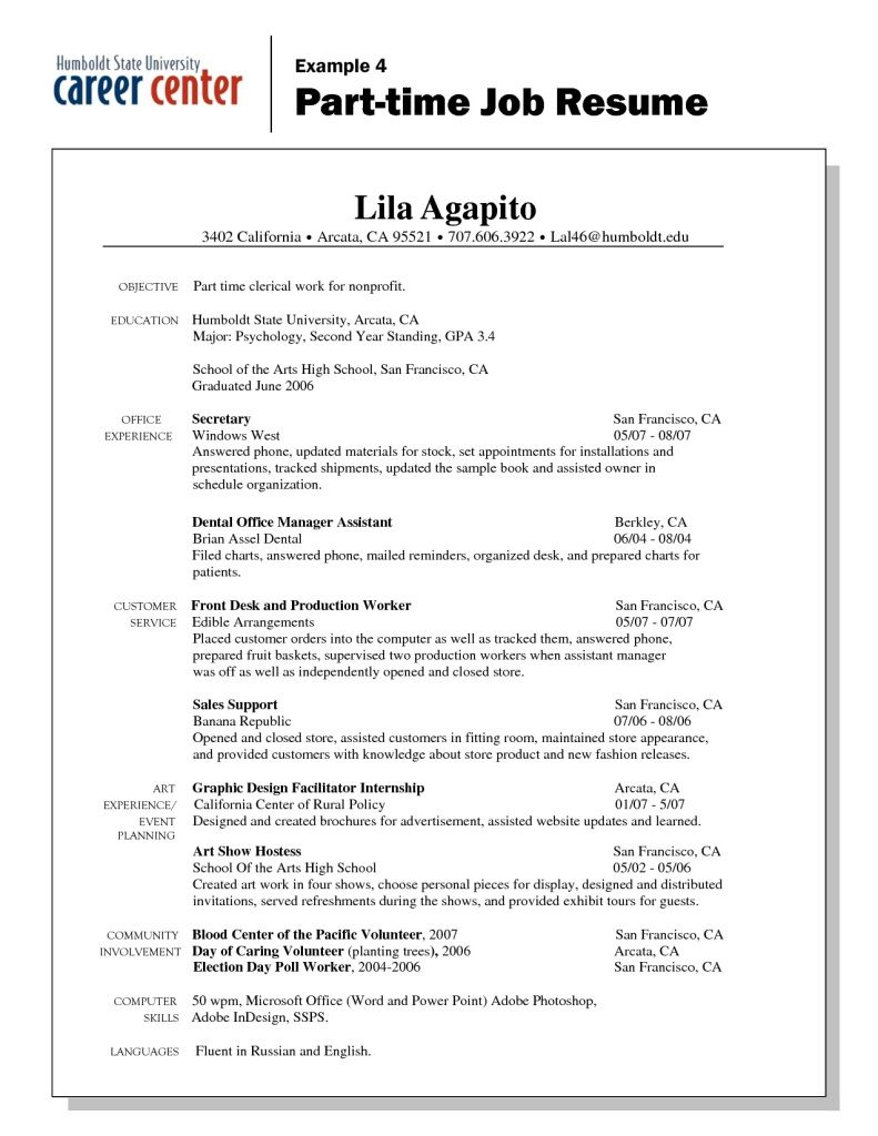 Work Resume Sample Part Time Resumeeverything Com Basic Resume Examples For  Part Time Jobs Google Search  Examples Of Work Resumes