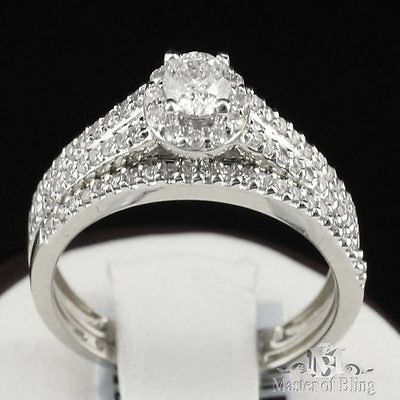 Solitaire Set 14k White Gold .75 Ct Bridal Ring Set Casual Wear Diamond Band New
