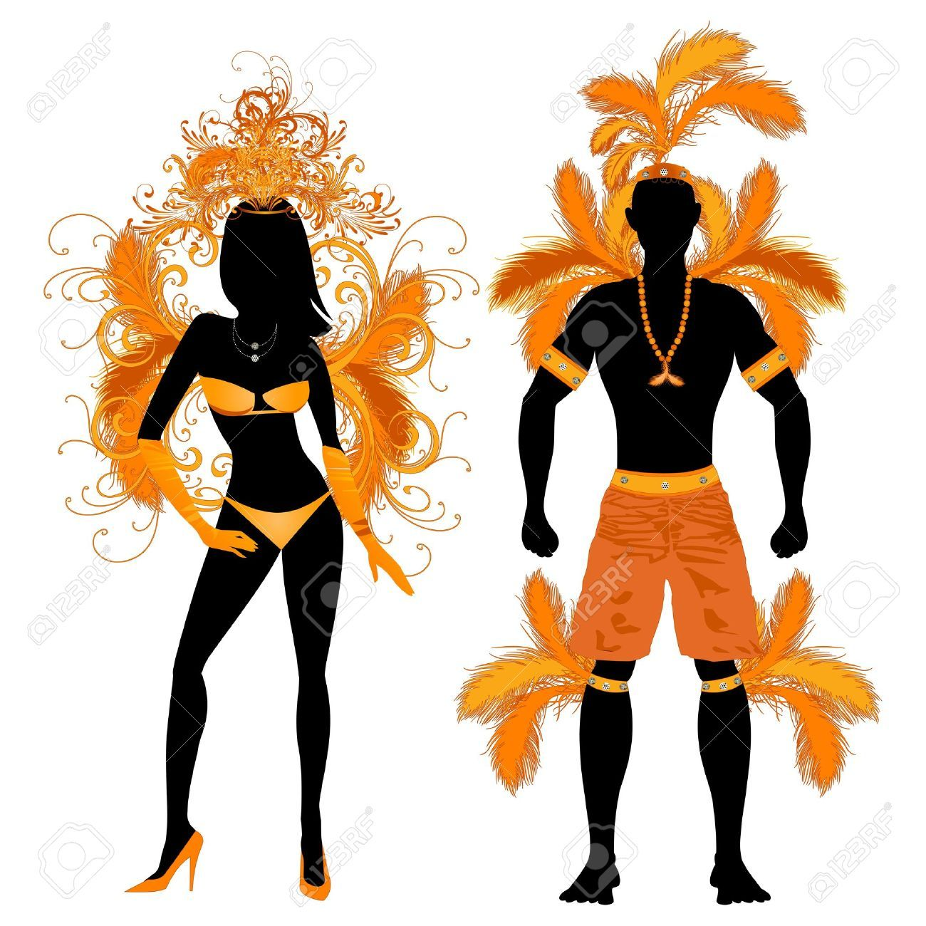 Illustration Of Vector Illustration Orange Couple For Carnival Costume  Silhouettes. Vector Art, Clipart And Stock Vectors.