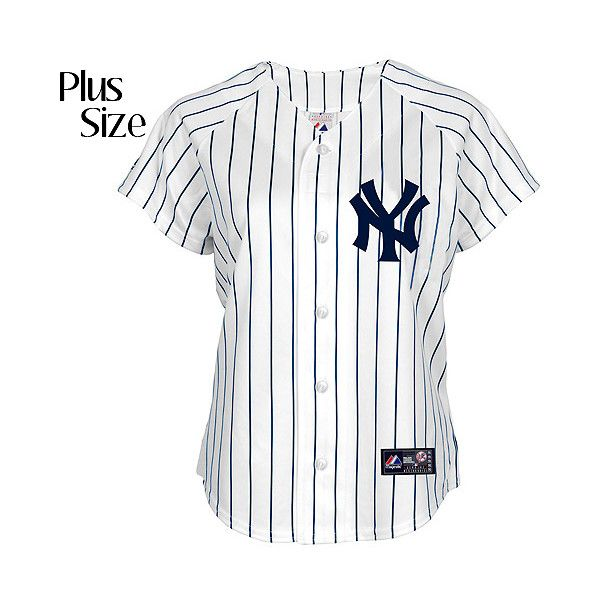 New York Yankees Women S Plus Size Replica Jersey By Majestic Athletic 245 Brl Liked On Polyvore Featuring Plus Size Jerseys New York Camiseta Adidas Looks E Look