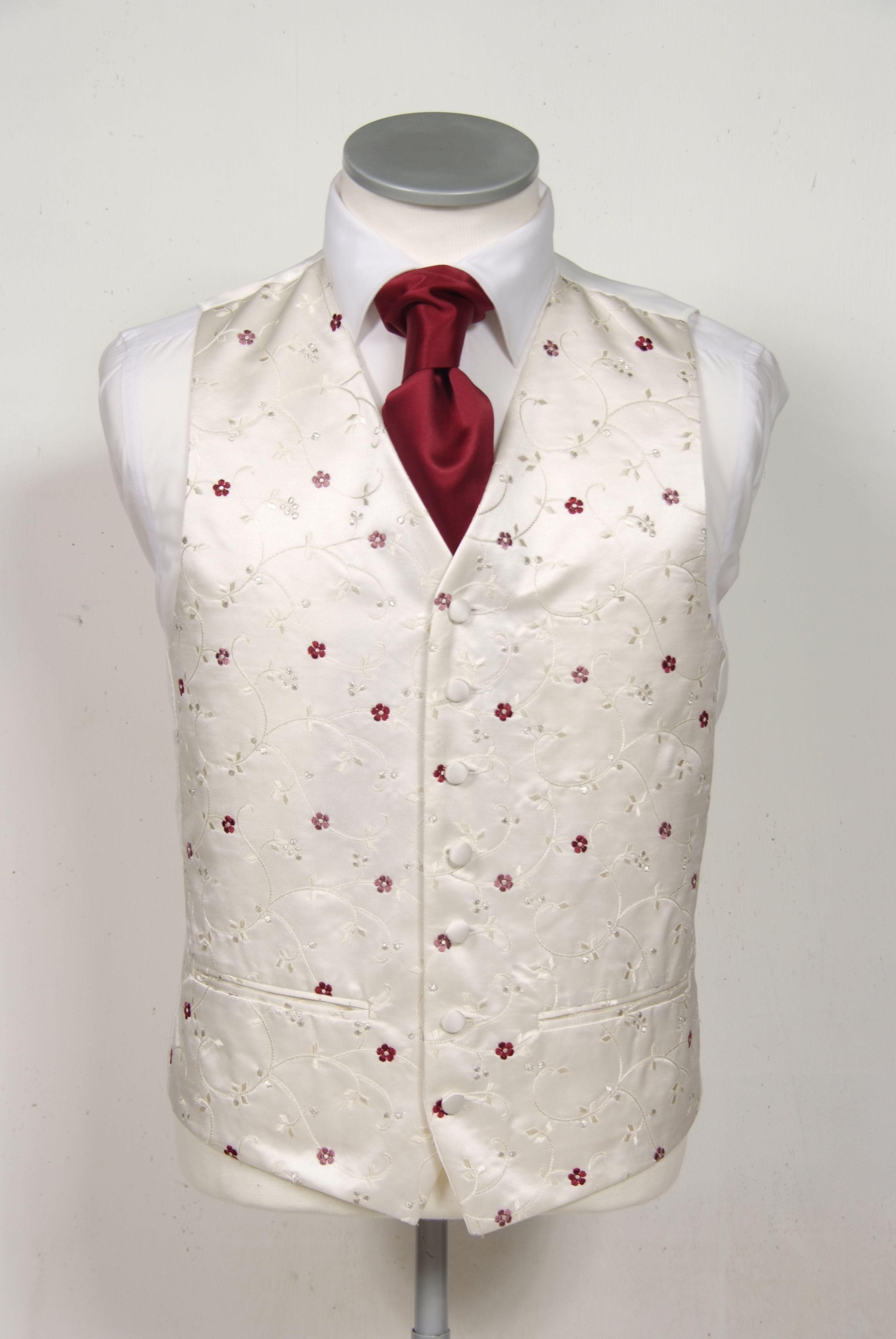 ivory & burgundy floral wedding waistcoat. wedding groom