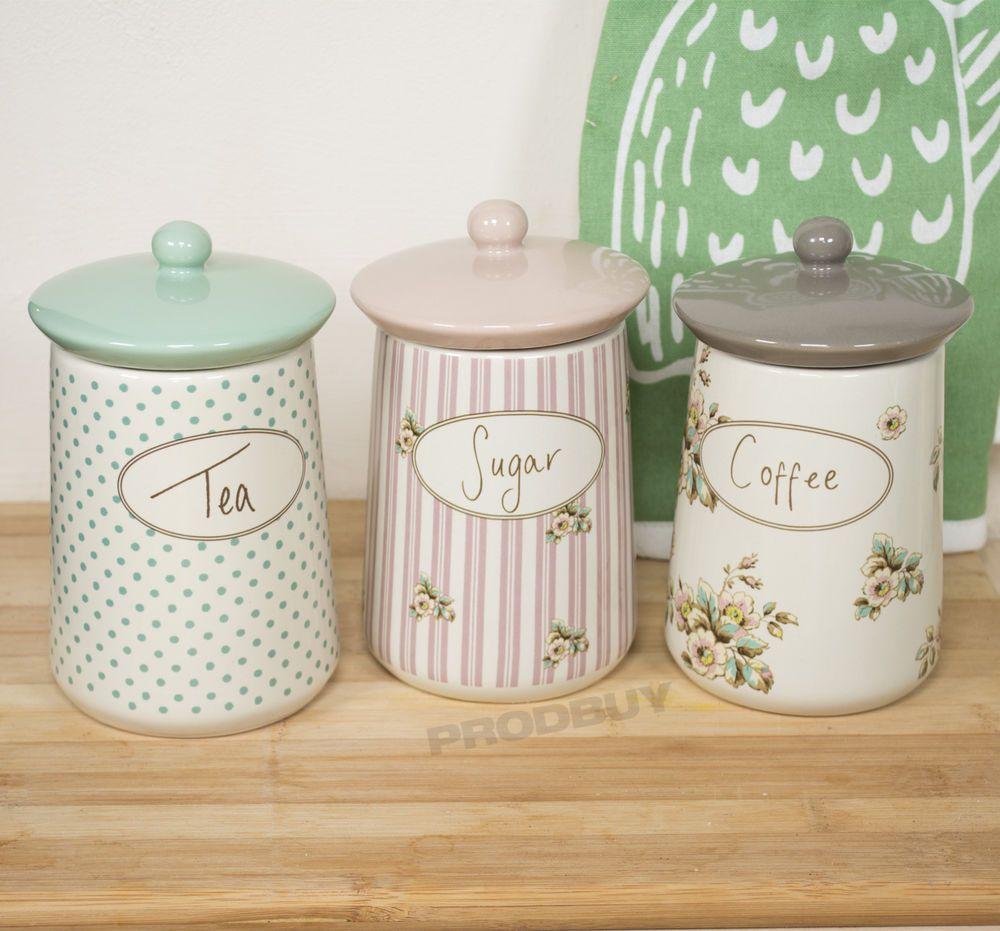 Set Of 3 Katie Alice Cottage Flower Tea Coffee Sugar Storage Jars Canisters Pots