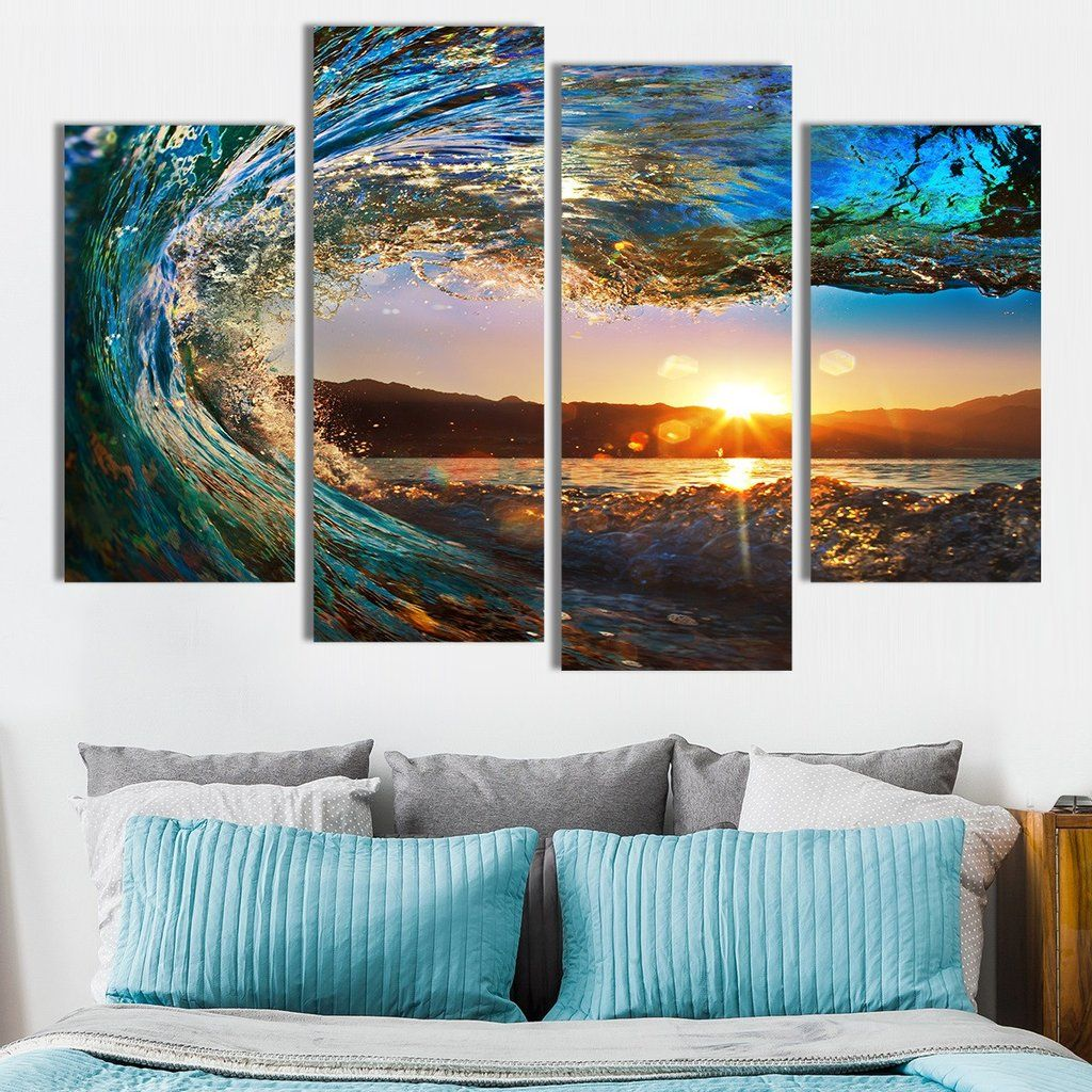 Great Wave Multi Panel Canvas Wall Art Beach Canvas Wall Art Beach Wall Art Beach Canvas Art