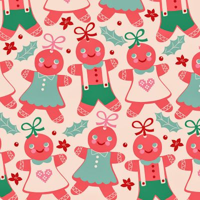 christmas, gingerbread man, greeting card design, surface pattern, illustration victoriajohnsondesign.com