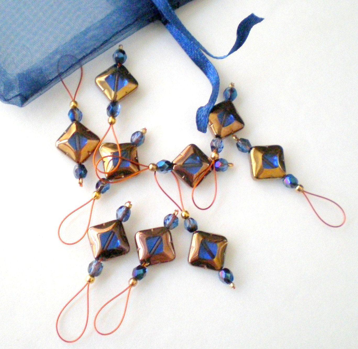 Knitting Markers Beads : Bead stitch markers set of handmade knitting