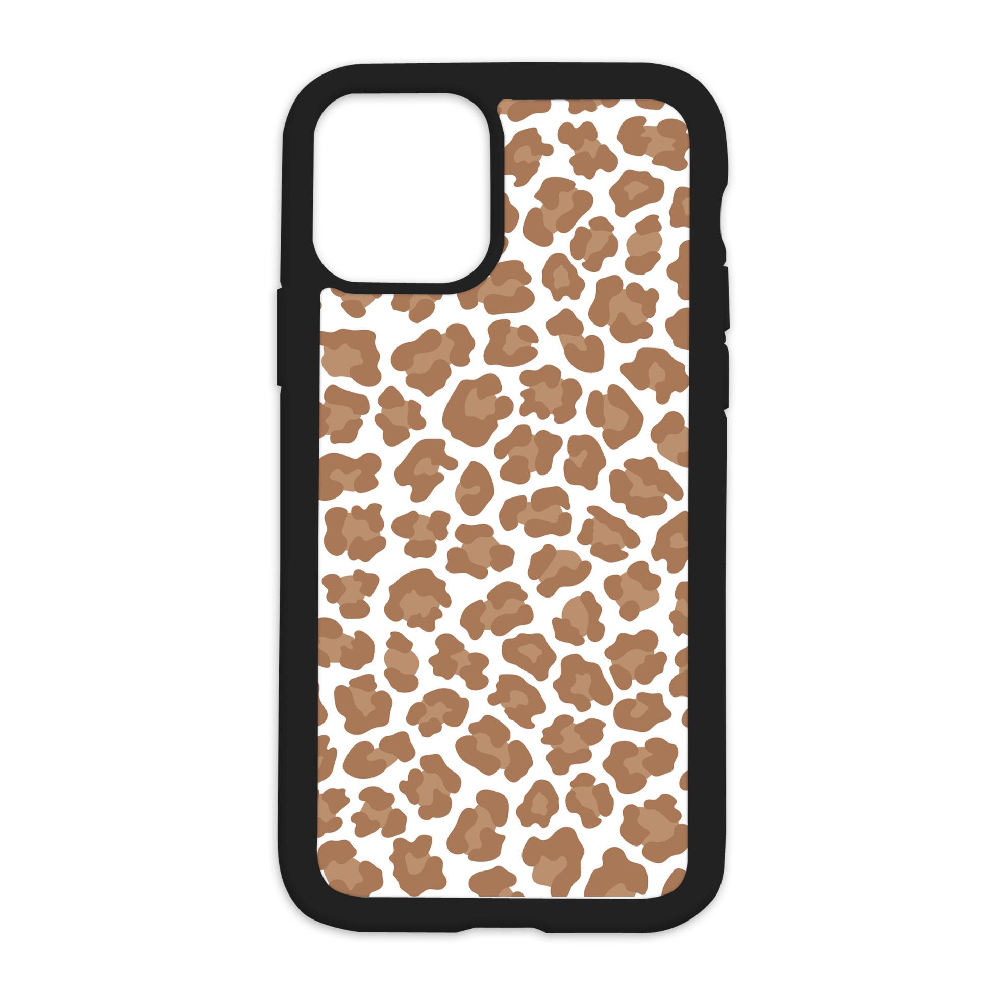 Leopard Print Design On Black Phone Case - XS MAX / Brown