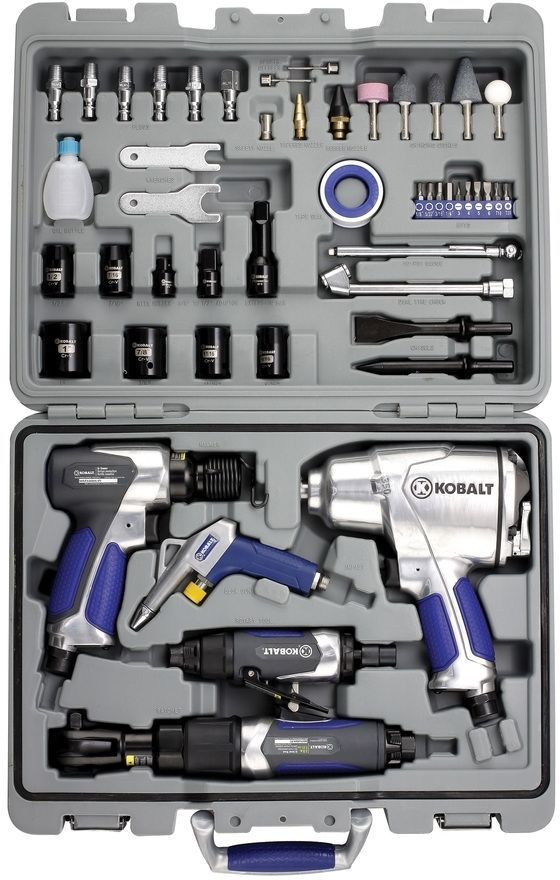 c20436f6d8b Kobalt 50-Piece Mechanics Workshop  Air  Impact Grinding  Power  Tool Kit