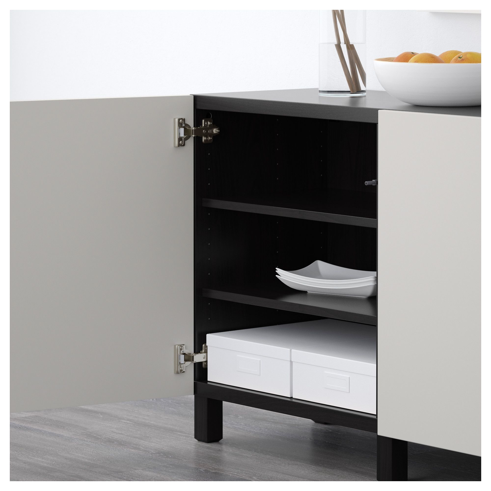 IKEA - BESTÅ Storage combination with doors black-brown, Lappviken ...