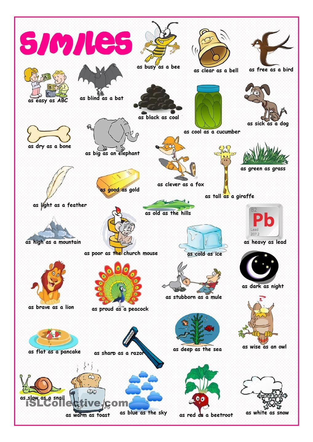Similes Picture Dictionary | Similes | Pinterest | Schreibschrift