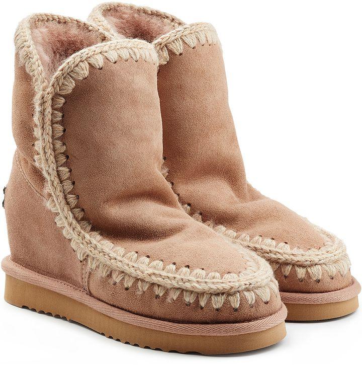 Mou Eskimo Wedge Short Sheepskin Boots