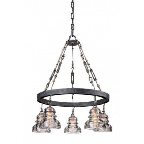 Luminaire suspendu de style industriel en métal vieil argent texturé