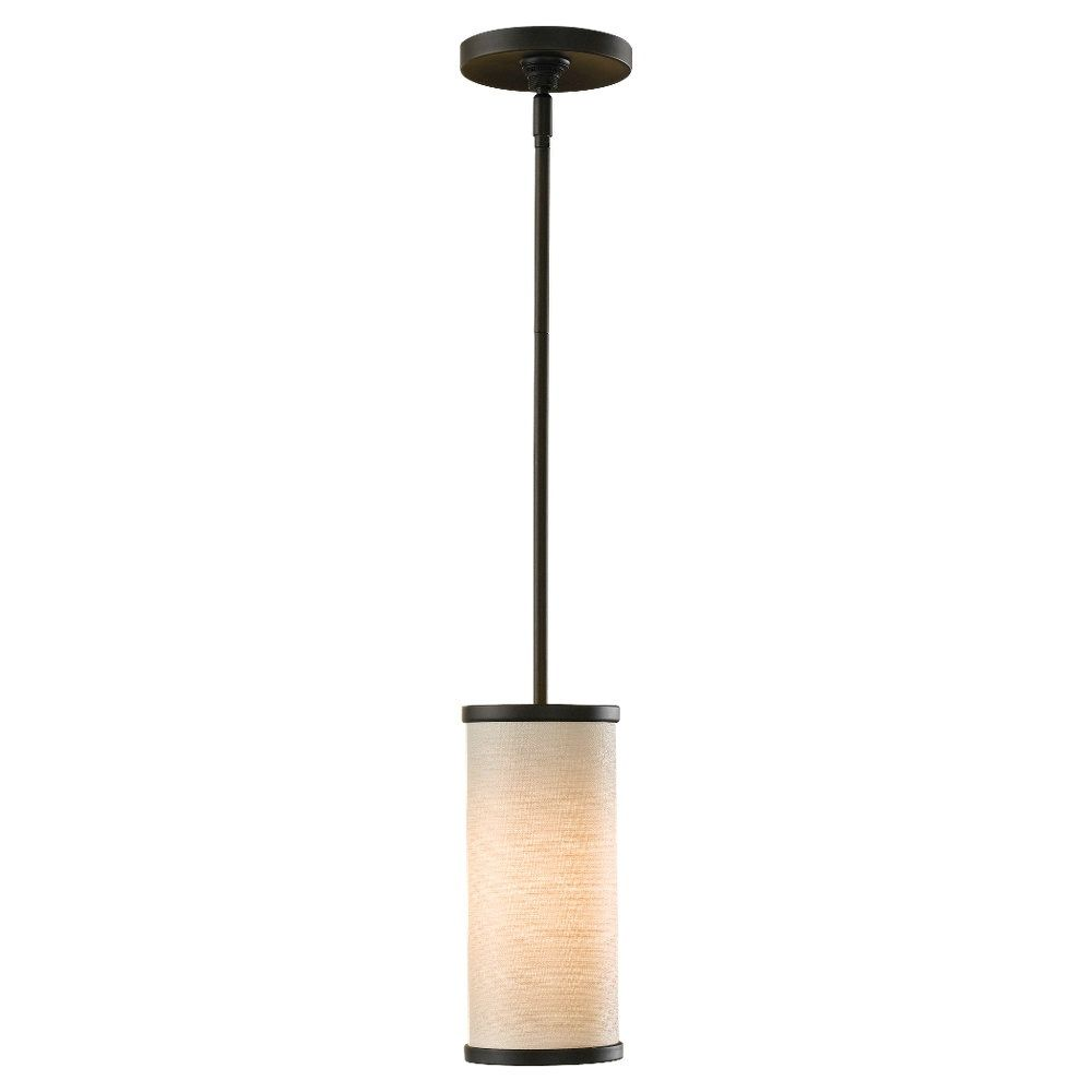 Lunawarehouse stelle one light mini pendant lighting one light oil rubbed bronze cream color linen fabric shade drum shade mini pendant master bath 93 aloadofball Choice Image
