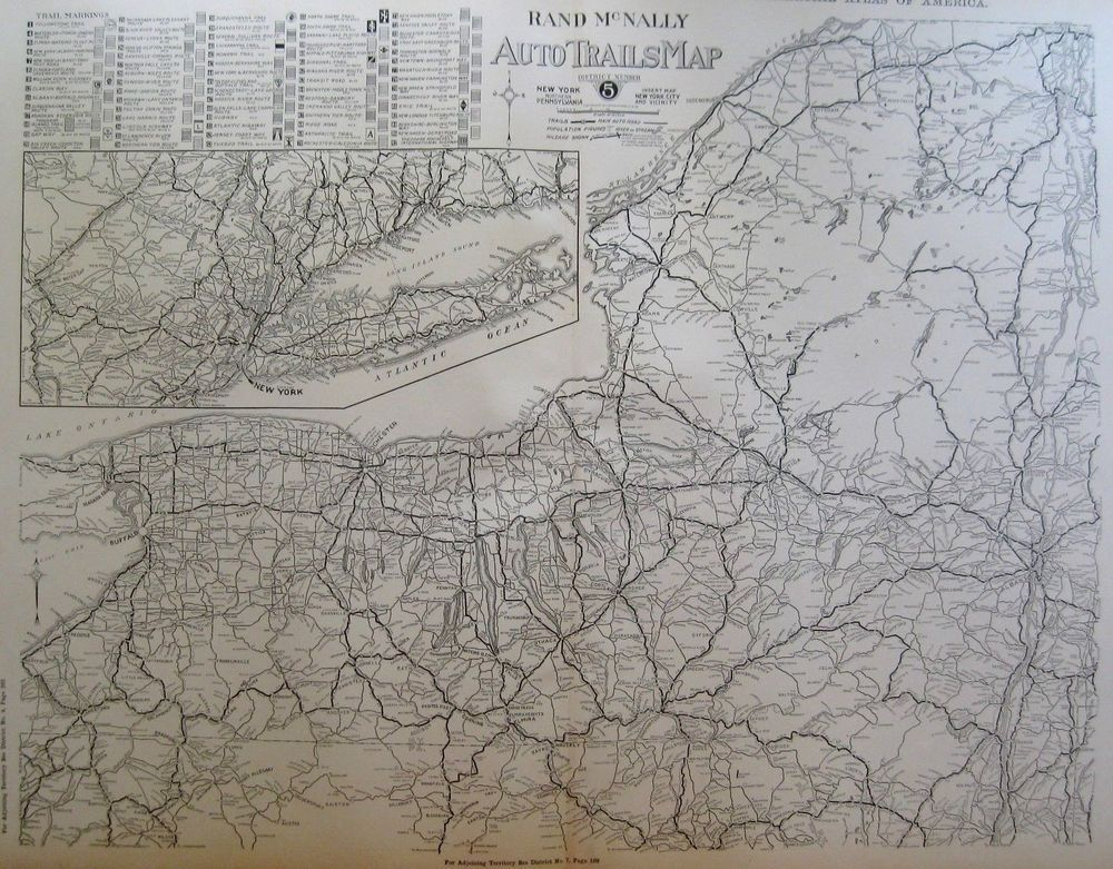 1924 RARE Antique AUTO TRAILS Map NEW