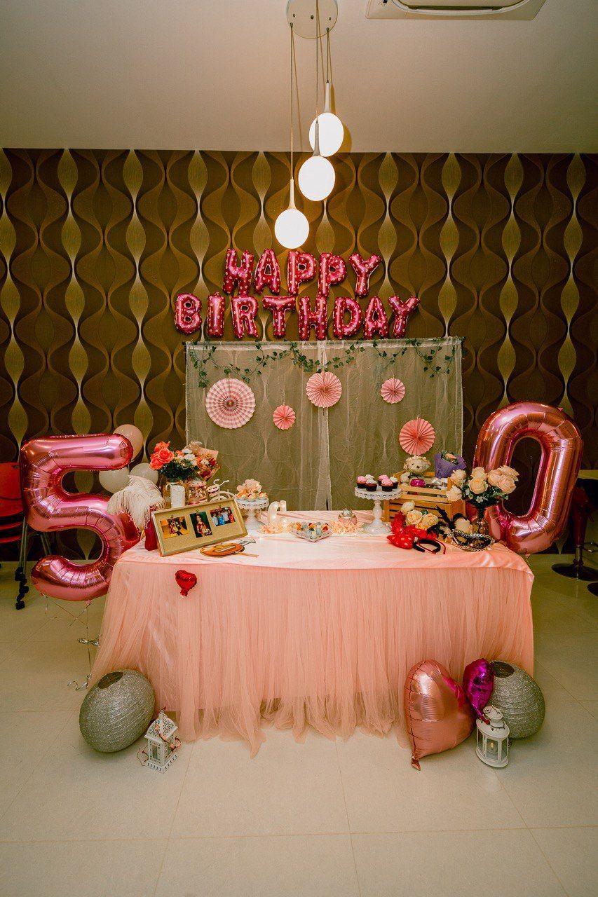 Pastel Pink Birthday Decor in 2020 50th birthday party