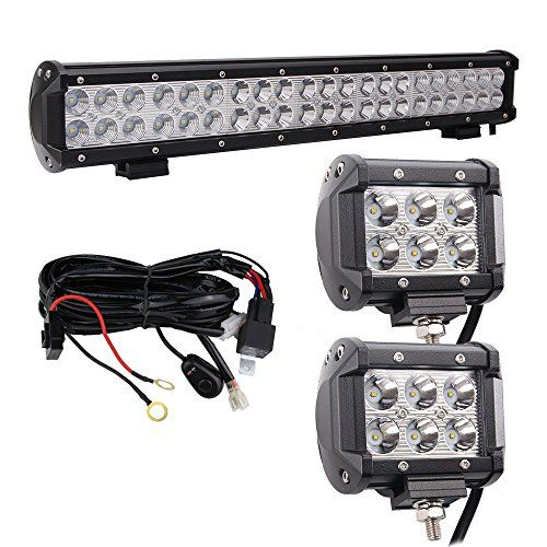 Bangbangche 20inch 126w combo led light bar with wiring harness and bangbangche combo led light bar with wiring harness and spot led driving fog lighting for tractor trailer truck forklifts atv suv jeep boat snow plow 4 aloadofball Choice Image