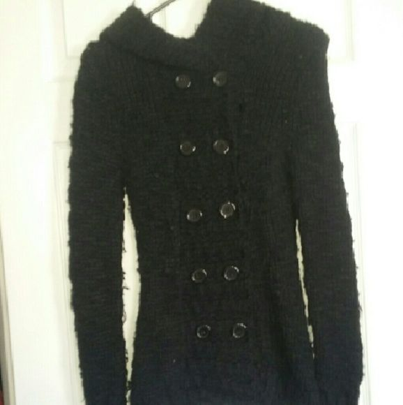 Black buttoned sweater Double breast buttoned sweater with hood Sweaters