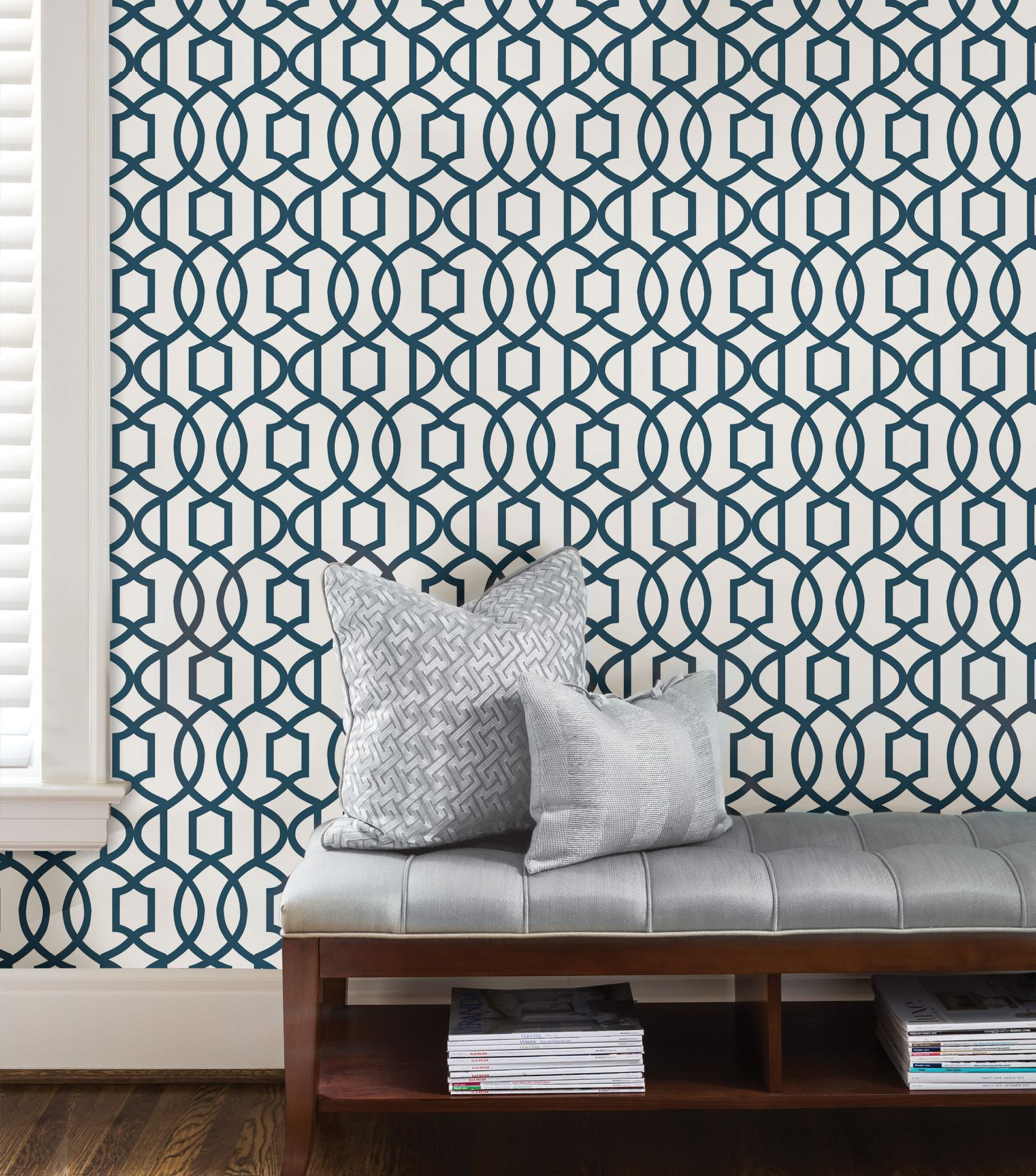 Wallpops Grand Trellis Navy L Stick Wallpaper 5 5m W 52cm Departments Diy At B Q