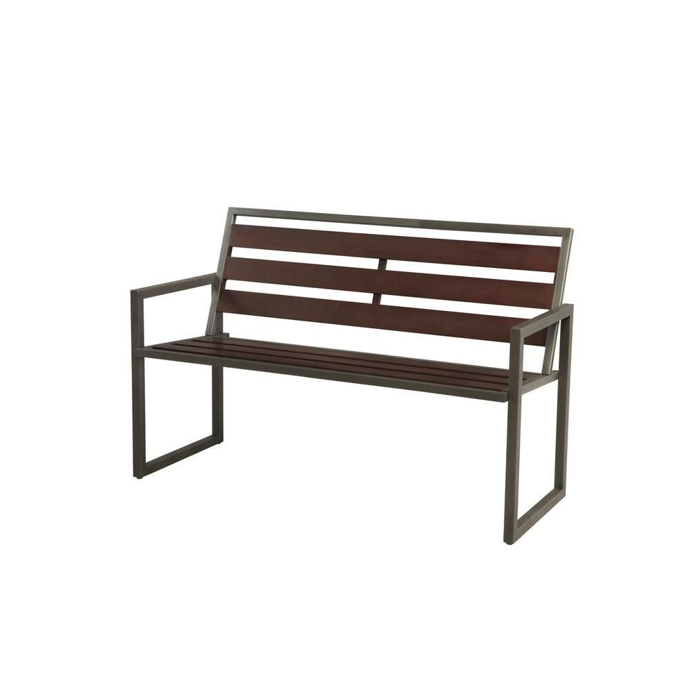 Hampton Bay Rockland 4 ft. Patio Bench with Arms-S-K-319PB at The ...