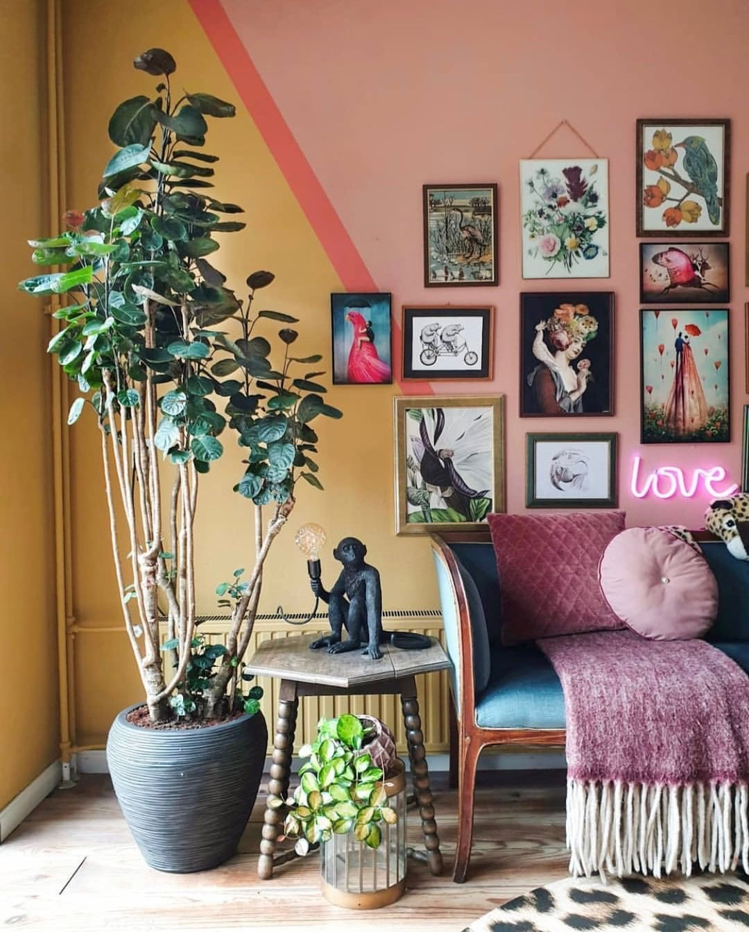 Tastemade Home On Instagram An Eclectic Art Collection A Geo Painted Accent Wall And Couple Healt Eclectic Wall Decor Diy Gallery Wall Art Accent Wall Paint