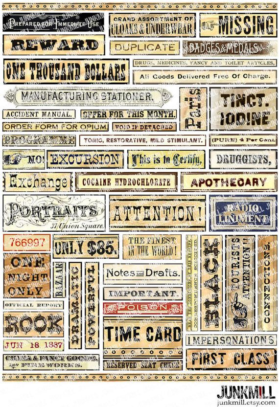Vintage Vocabulary, Antique Text \ Victorian Signs wwwjunkmill - duplicate order form