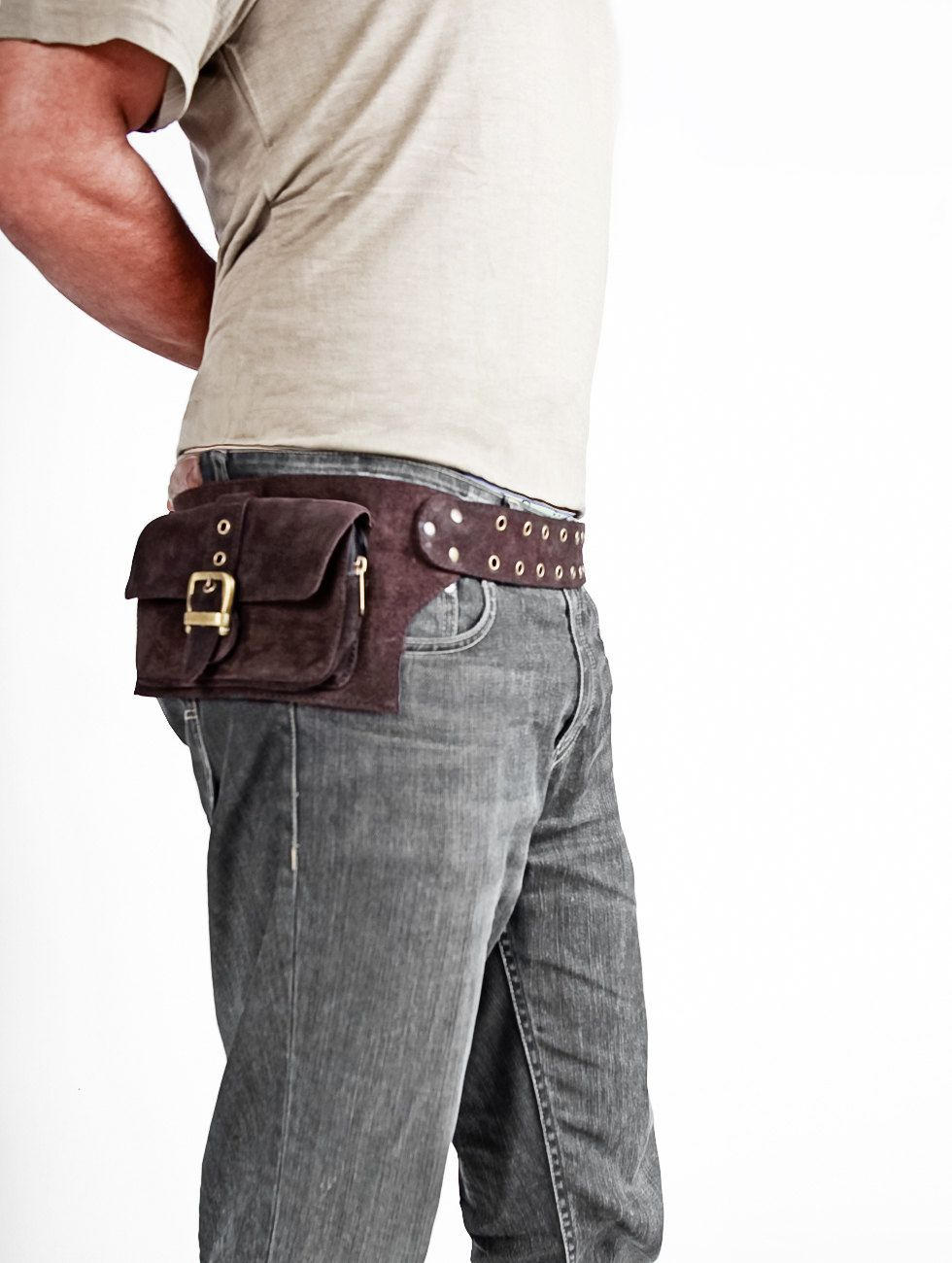 men leather bag in brown belt pouch hip bag by