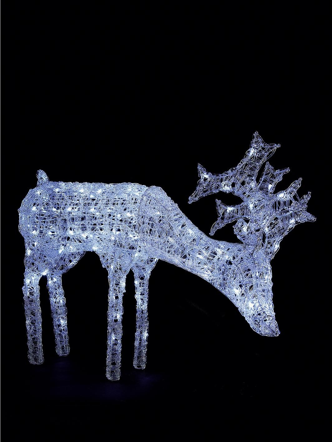Grazing White Light Up Reindeer Outdoor Christmas Decoration