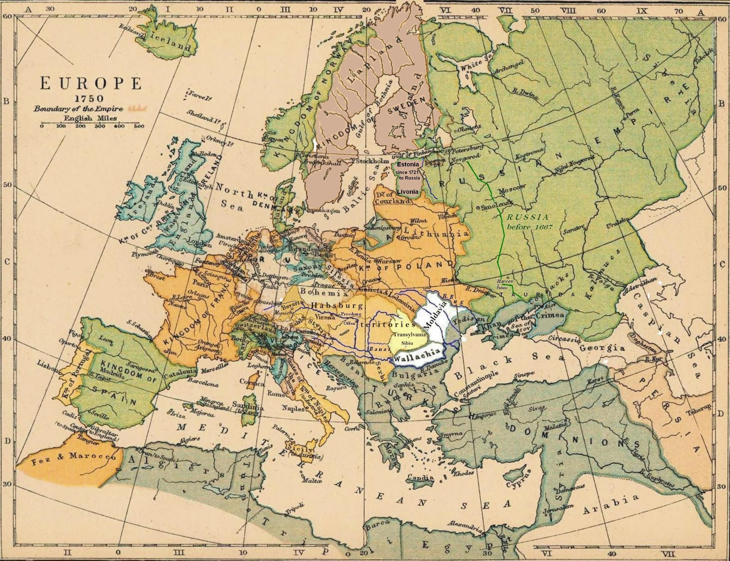 1750 advertisement historical map of europe at 1750