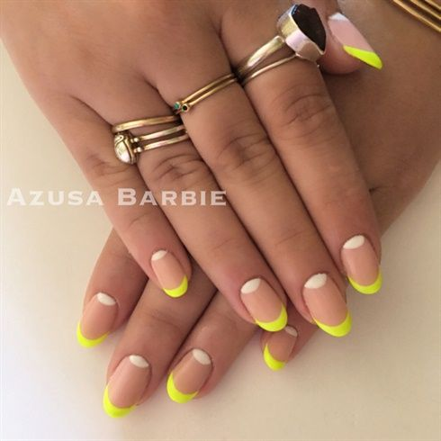 Neon French Nails With Images Green Nails Moon Nails Neon Nails