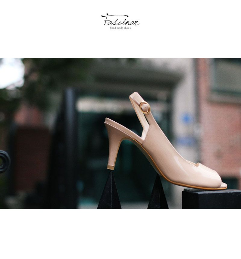 New Indi Pink Enamel Strap Sandal Custom Made Hand Made