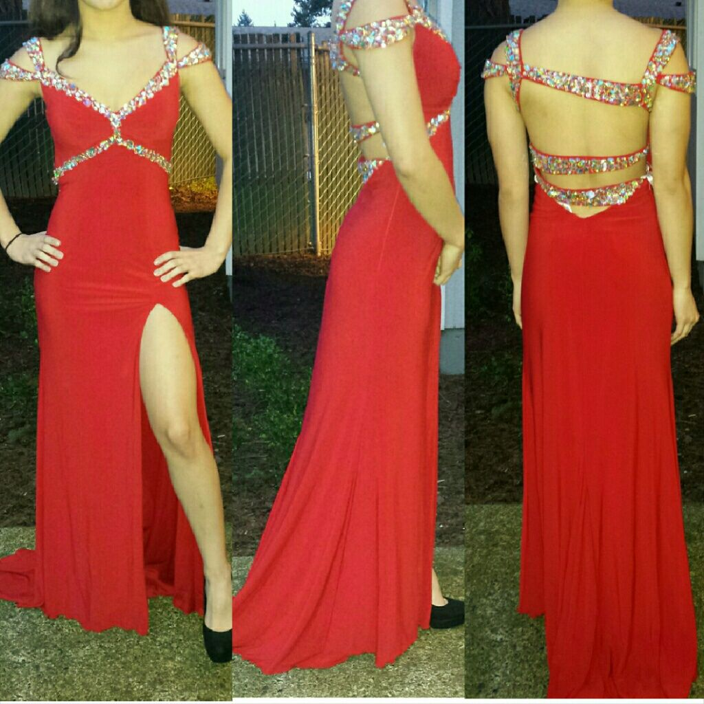 Size red prom dress with slit products