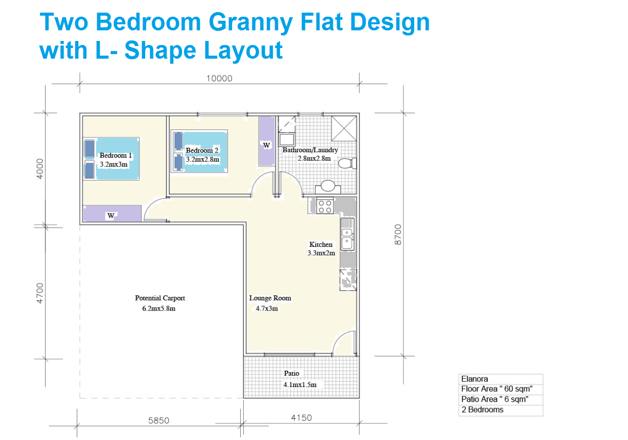 L Shaped Two Bedroom Granny Flat Design Granny Flat Tiny House Floor Plans Floor Plans