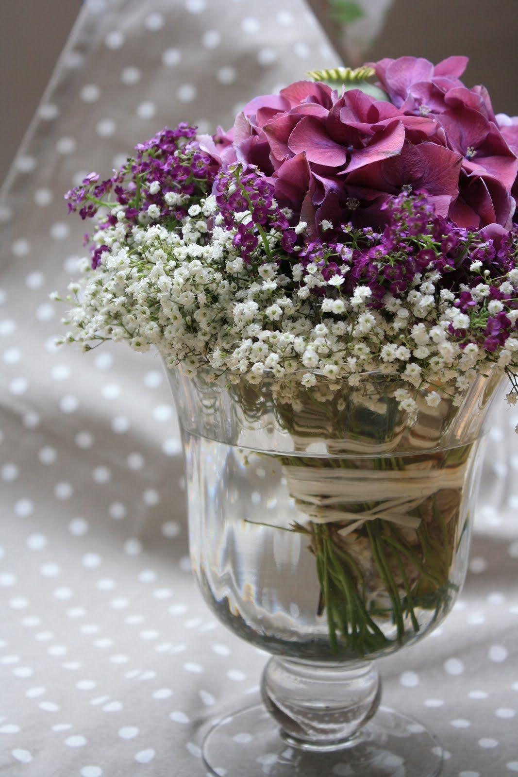 Tischdeko Hortensie Schleierkraut Mit Bildern Blumendeko