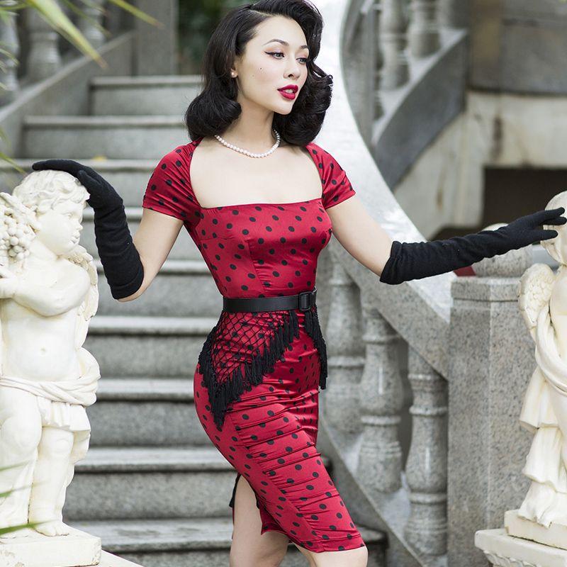 3f0bde10a85 le palais vintage Slim Tassel Dress Elegant Faux Silk Rayon Touch Fabric  Black Dot Square Collar Short Sleeve 50s Pin Up Vintage