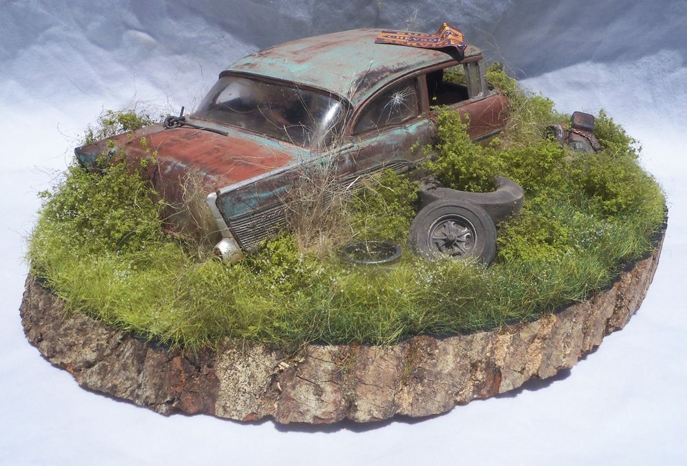 1957 Chevy Bel Air Barn Find Weathered Pro Built Diorama Revell 1 25 Plastic