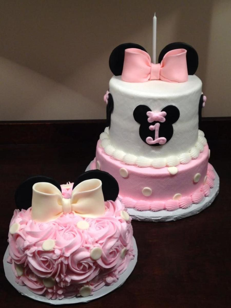 Minnie Mouse Themed First Birthday Cake With Rosette Smash Cake Minnie Mouse Birthday Cakes Minnie Mouse First Birthday First Birthday Cakes