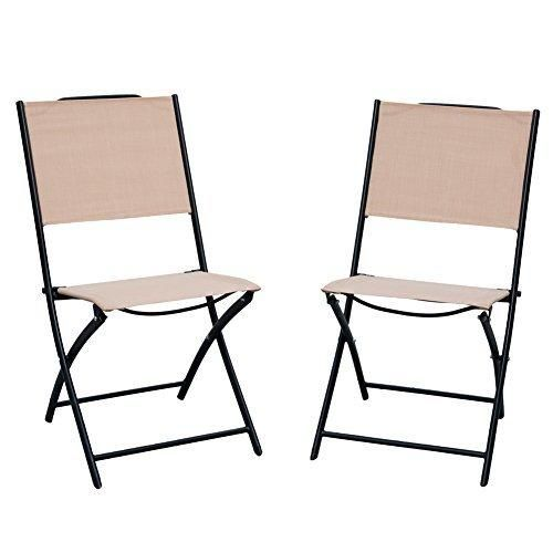 PatioPost 2 Pack Outdoor Iron Sling Teslin Mesh Fabric Folding Armless Chair  Tan