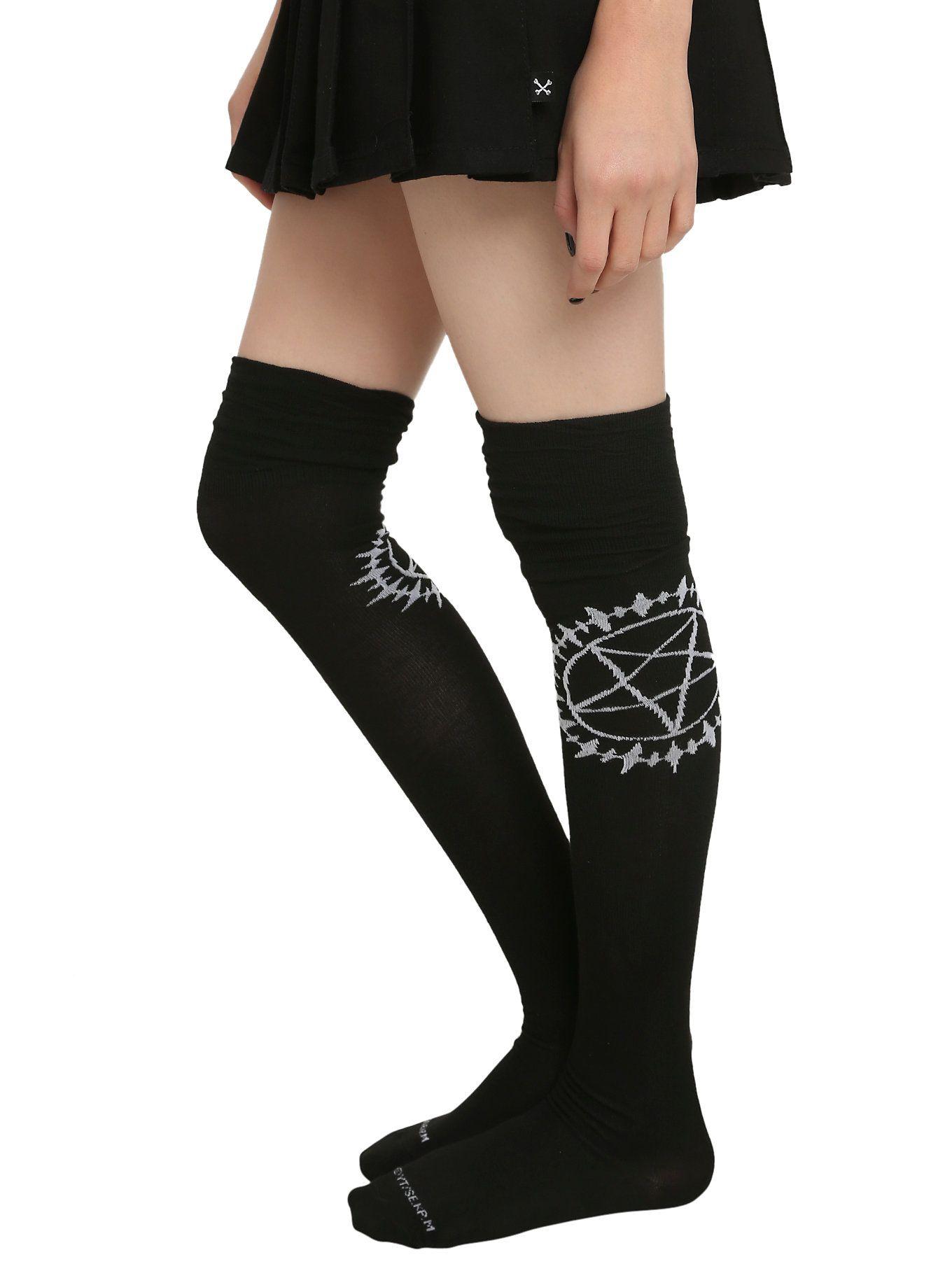 b47a899eb67 Black Butler Symbol Over-The-Knee Socks