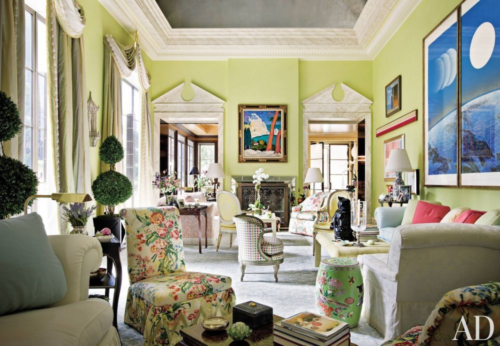 Living Room By Mario Buatta Colorful Walls Set Off Modern Art In