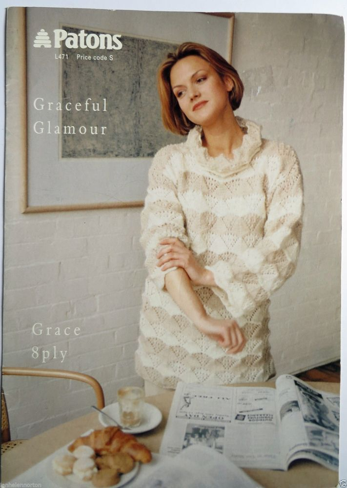 Patons Ladies Jumper 8ply Knitting Pattern Leaflet No L471 Book