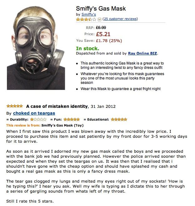 Gas Mask Funny Amazon Product Review Funny Amazon Reviews Funny Picture Quotes Amazon Humor