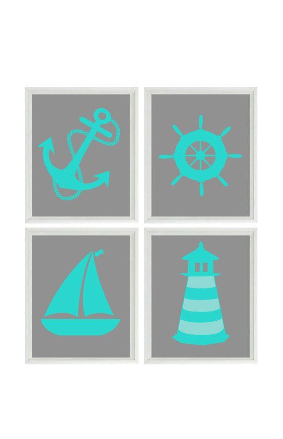 Nautical Nursery Art Print Set   Gray Turquoise Decor   Lighthouse Anchor  Sailboat Wheel   Beach House Bathroom Wall Art Home Decor 4